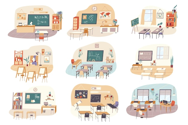Lessons at school isolated scenes set