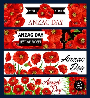 Lest we forget, anzac day 25 april poppy flowers banner set