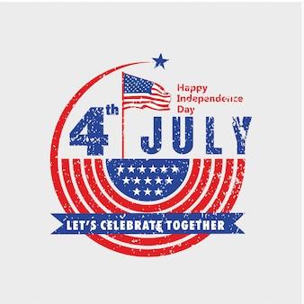 Давайте праздновать день независимости сша 4 июля в винтажном стиле