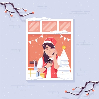 Let it snow christmas illustration background