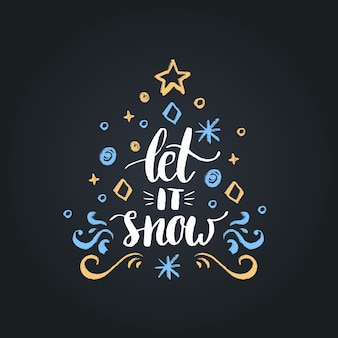 Let it snow lettering on black background.  christmas chalk drawing illustration.