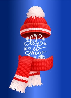 Let it snow lettering red knitted scarf hat