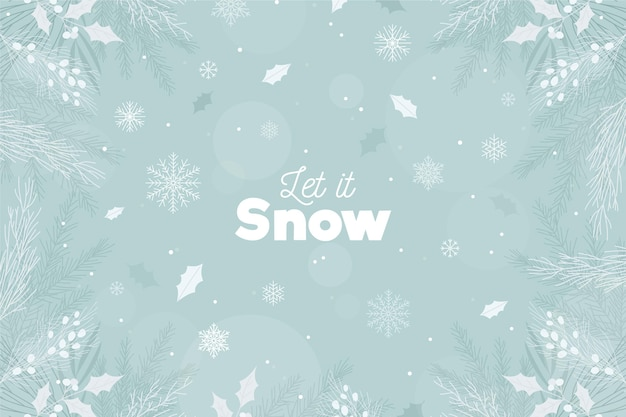 Let it snow lettering on winter background