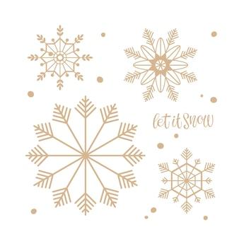 雪のテキストとゴールドのスノーフレークシルエットがクリスマスと年末年始の要素を設定します