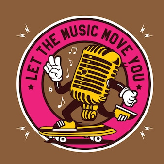 Let the music move your - vintage microphone character design emblem