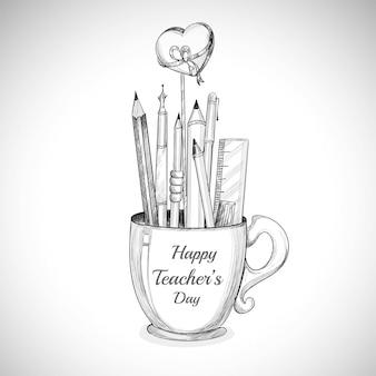 幸せな先生の日カップと鉛筆画を祝いましょう