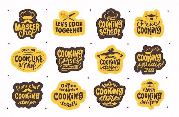 Let's cook. set of vintage retro hand drawn labels lettering