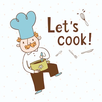 Let's cook. vector illustration of a cook
