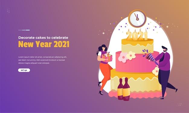 新年のコンセプトを祝うためにケーキを飾りましょう
