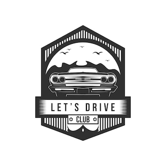 Let's drive club badge vector illustration