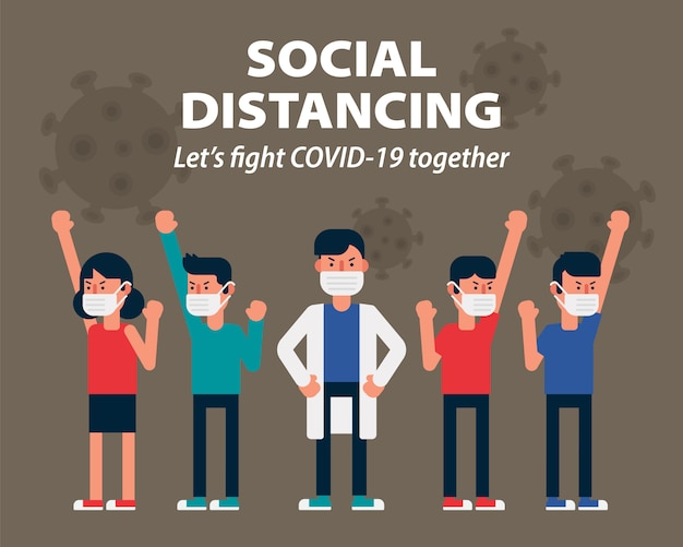 Let's fight covid-19 together for health with wearing face mask illustration