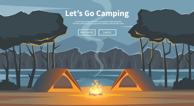 Let's go camping illustration