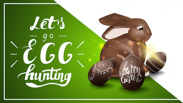 Let's go egg hunting, postcard template with lettering