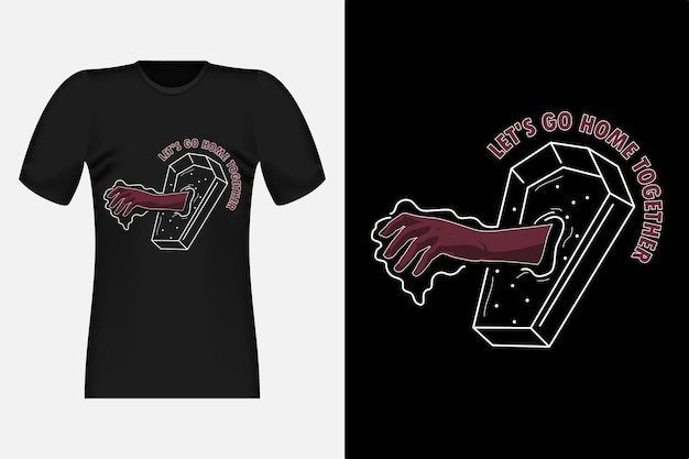 Пойдем домой, рисованный стиль, винтажный дизайн футболки