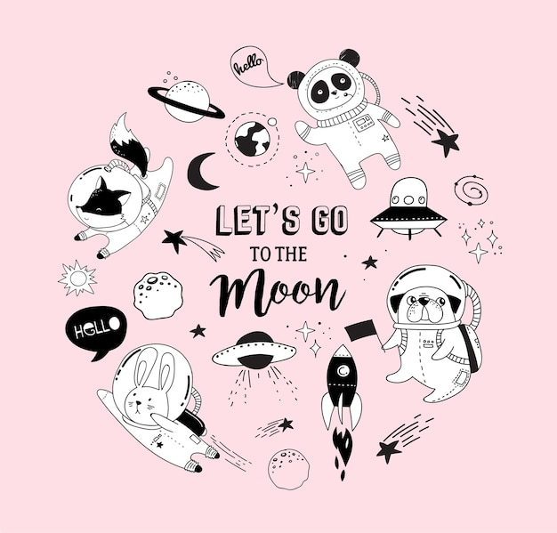 Let's go to the moon humoristic concept