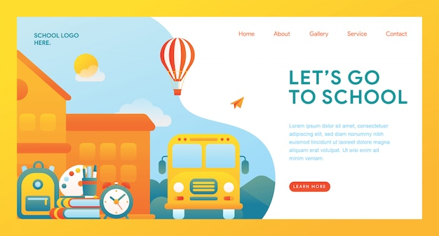 Let's go to school landing page