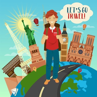 Let's go travel banner with famous buildings