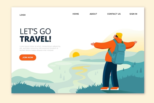 Let's go travel man with open arms landing page