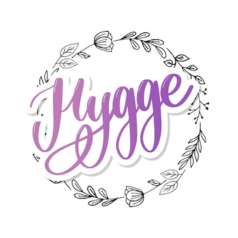 Let's hygge. inspirational quote for social media and cards. danish word hygge means cozyness, relax and comfort. black lettering  on white background
