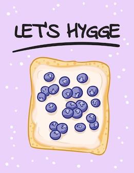 サンドイッチ面白いポストカードをhyggeしましょう。アイシングスプレッドとブルーベリー落書きポスターと引用符でトーストパンサンドイッチ。朝食または昼食のビーガンフード。ストックベジタリアンプリント