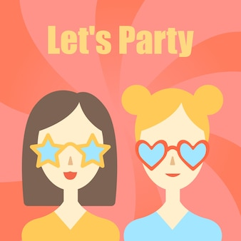 Let's party. greeting card with calligraphy. hand drawn lettering