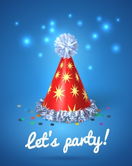 Let's party poster with red hat and stars