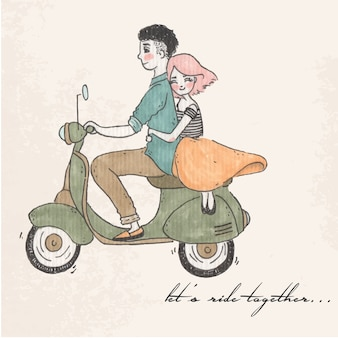 Let's ride together illustration