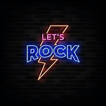 Let 's rock 네온 사인 디자인 템플릿