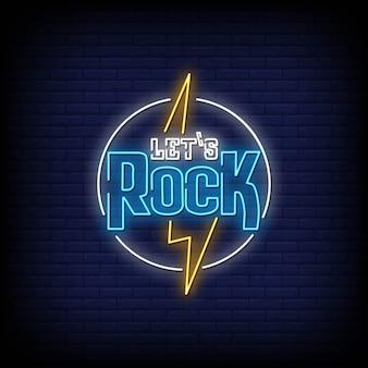 Let's rock неоновый стиль текста