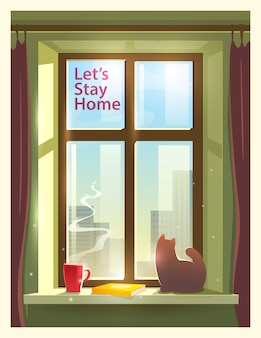 Let's stay home.  illustration on the theme: self-isolation, coronavirus, quarantine, epidemic, covid-19.