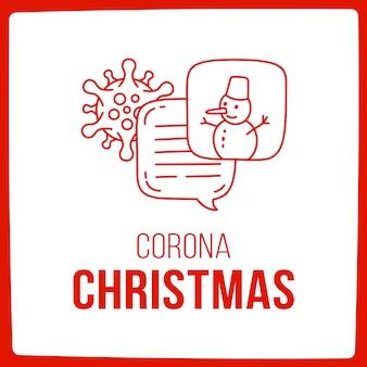 コロナウイルスとクリスマスについて話しましょう。雪だるまアイコンと落書きイラストダイアログ吹き出し。