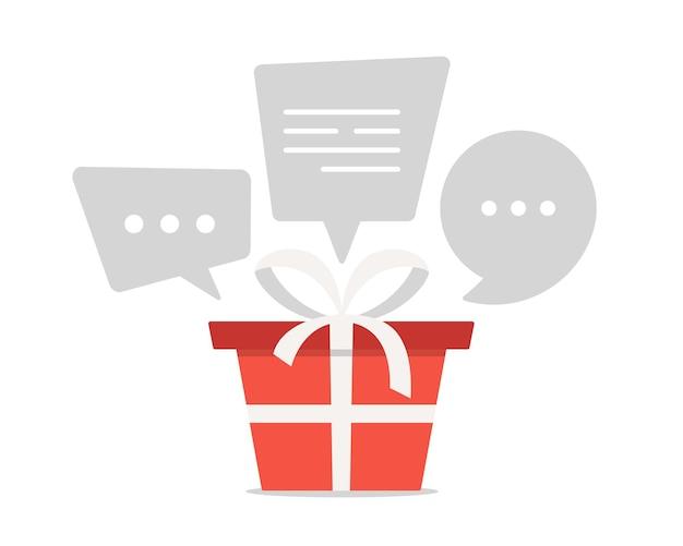 贈り物について話しましょう。吹き出し付きの白いリボンと赤いギフトボックス