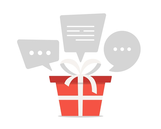 Let's talk about gifts. red gift box with a white ribbon with speech bubbles