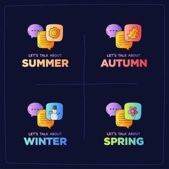 Let's talk about seasons doodle illustration dialog bubbles