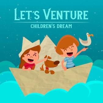 Let's venture - children's dream illustration
