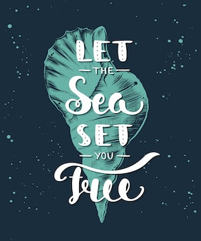 Let the sea set you free with sketch of sea shell