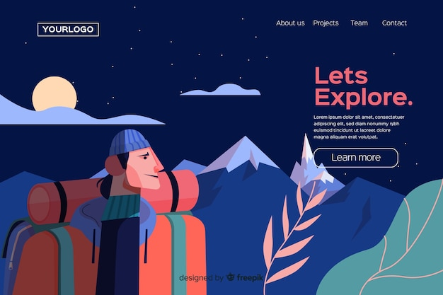 Let us explore adventure landing page