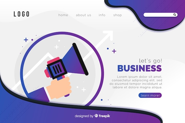 Let us go business landing page template