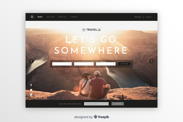 Let us go somewhere travel landing page