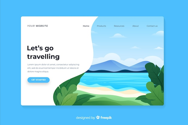 Let us go traveling landing page