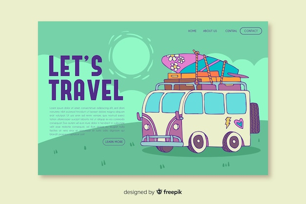 Let us travel landing page with illustration