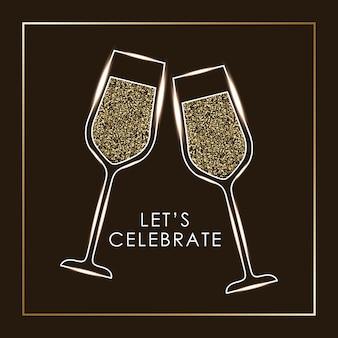 シャンパングラスの歓声のペアを祝うことができます