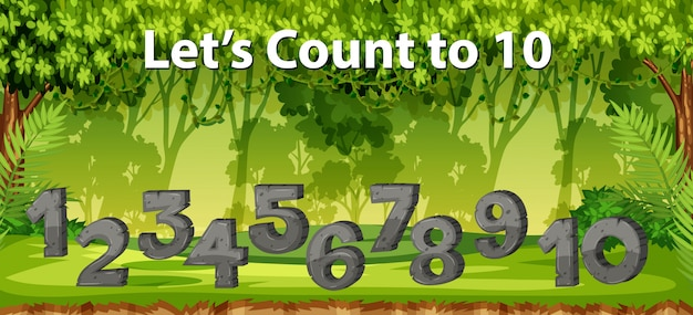 정글 장면 10 개까지 셀 수 있습니다