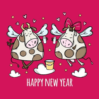 Lets drink for a new year. two funny cows clink glasses. illustration for greeting card