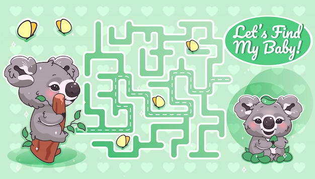 Lets find my baby green labyrinth with cartoon character template. australian animal find path maze with solution for educational kids game. koala looking for baby printable   layout