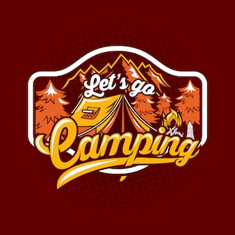 Lets go camping quote saying badge