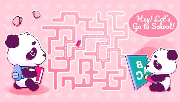 Lets go to school labyrinth with cartoon character template. animal with backpack find path maze with solution for educational kids game. studying cute little panda printable flat