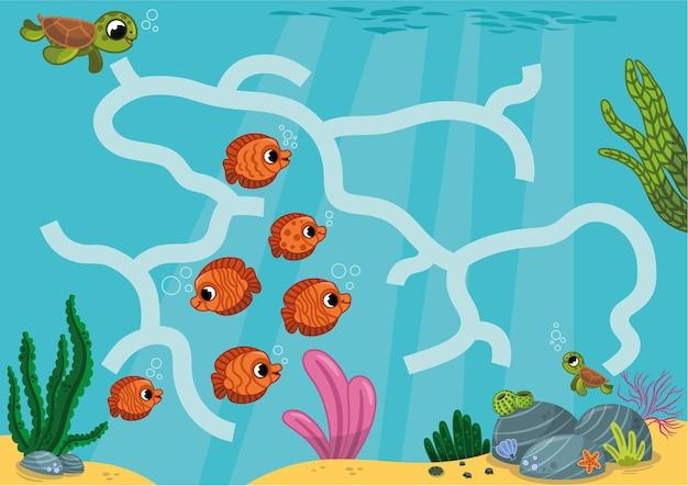 엄마 바다거북이 아기 벡터 삽화를 찾도록 도와주세요.