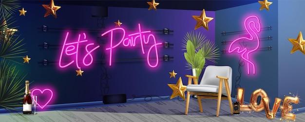 서예 스타일 단어로 파티 네온 사인 붓글씨 레터링 그림을 수 있습니다.