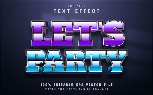 Lets party text, retro 80s style text effect